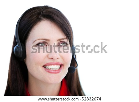 Brunette sales representative woman with an headset against white background
