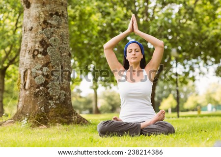 Brunette sitting in lotus pose on grass in the park - stock photo