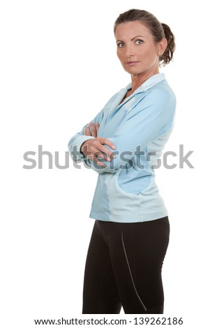 brunette wearing fitness wear on white background - stock photo