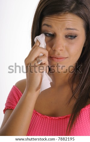 brunette with a broken heart - stock photo