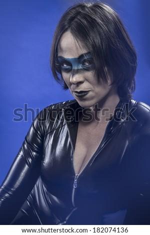 Brunette with black latex dress - stock photo