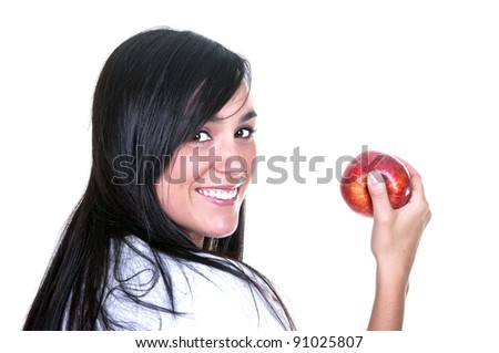 brunette with red apple isolated - stock photo