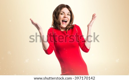 Brunette woman doing surprise gesture