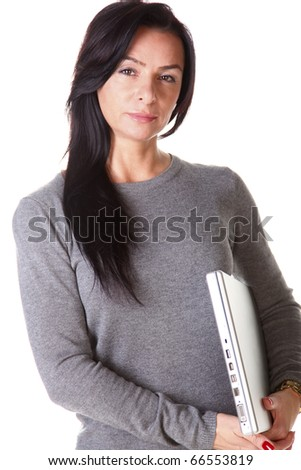 Brunette woman hug laptop computer, she love her work - stock photo