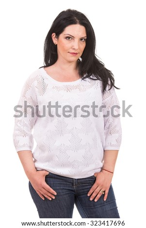 Brunette woman posng in croched white blouse isolated on white background - stock photo