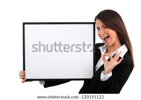 Brunette woman with black frame - stock photo