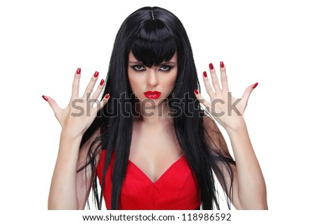 Brunette woman with glamour make-up and red bright manicure isolated on white - stock photo