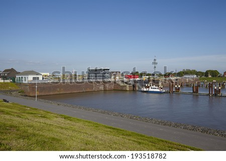 BRUNSBUETTEL, GERMANY - MAY, 17. Lockage in Brunsbuettel to the Kiel Canal taken in the early evening on May 2014, 17.