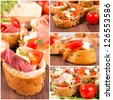 Bruschetta sandwiches with ham, cheese and tomato - stock photo