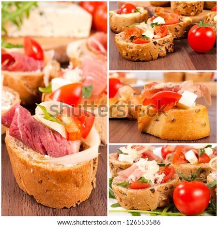 Bruschetta sandwiches with ham, cheese and tomato - stock photo
