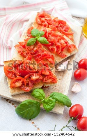 Bruschetta with basil and origan
