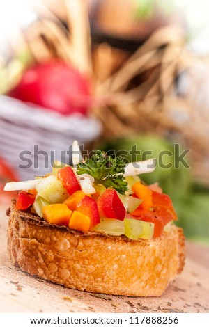 bruschetta with red peppers - stock photo