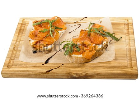 Bruschetta with salmon - stock photo