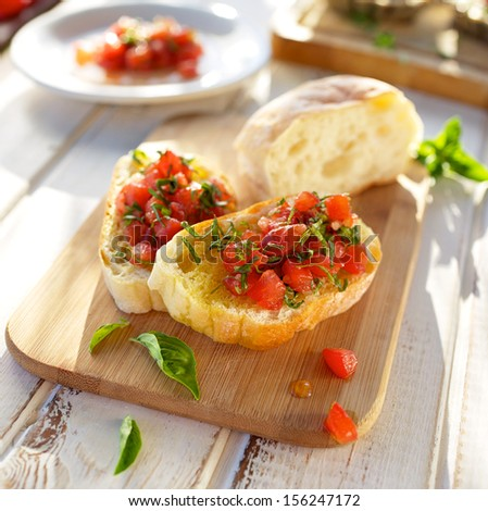 Bruschetta with tomato - stock photo