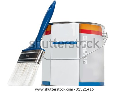 brush and paint cans isolated on white background - stock photo