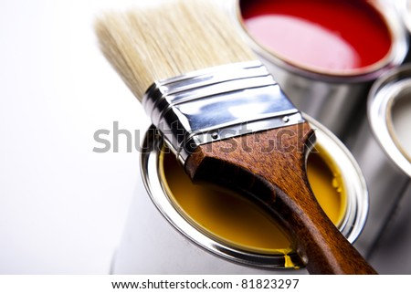 Brush and paint samples - stock photo