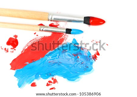 brush and paint scratch isolated on a white background - stock photo