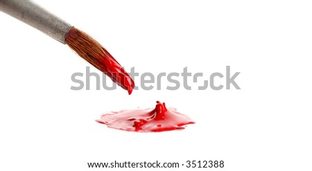 Brush and red paint isolated on white - stock photo