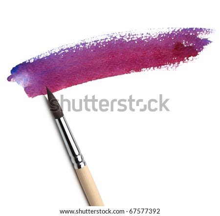 brush and red paint sketch - stock photo