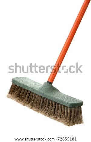 Brush for a floor with the orange handle - stock photo