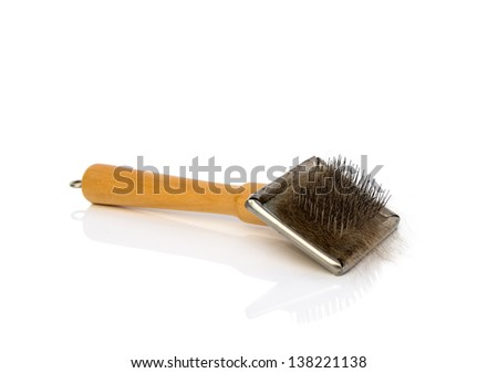 Brush for dog or cat with a scrap of fur