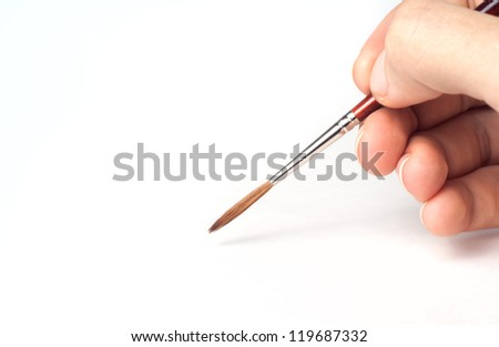 Brush in the arm isolated on white background - stock photo