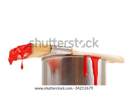 Brush lying on a can - stock photo