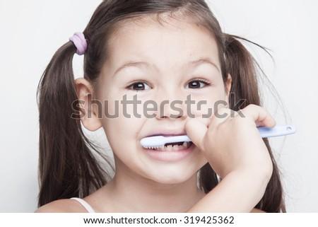 brush our teeth - stock photo