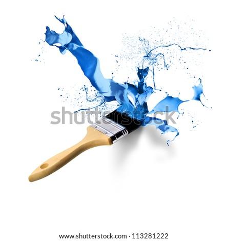 Brush painting splashing dripping blue paint on white background - stock photo