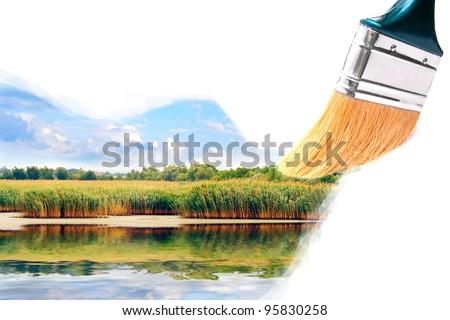 Brush painting summer lake landscape. - stock photo