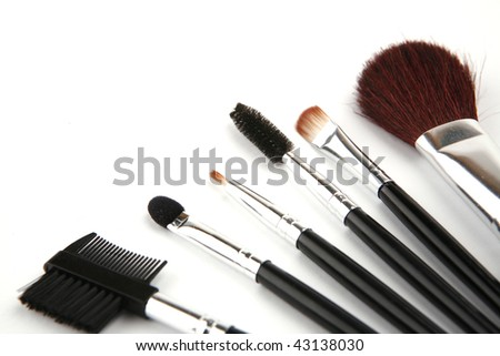 brush set for make-up over white background - stock photo