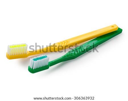 Brush teeth isolated on white background. - stock photo