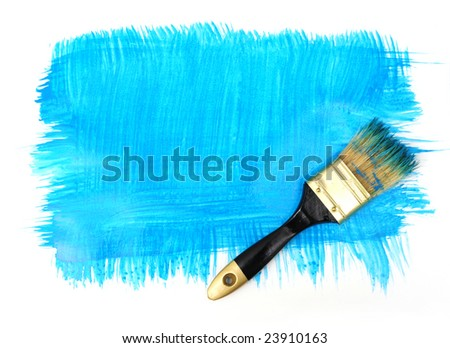 Brush with blue paint and blue daub on the white background