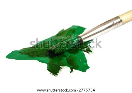 brush with green paint on white - stock photo