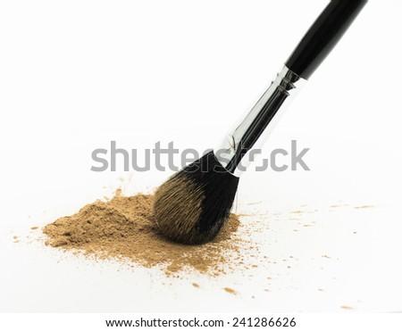 Brush with loose powder - stock photo