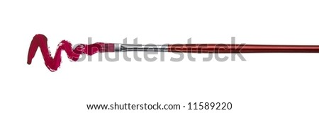 brush with red paint stroke and stick, cut out on white - stock photo
