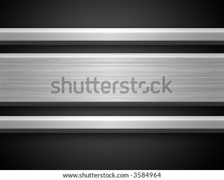 Brushed Aluminium Silver Bar ready for text on dark gray bacground - stock photo