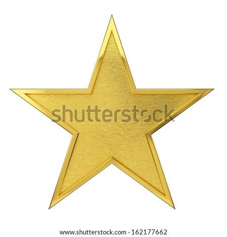 Brushed Golden Star Award. Isolated on white background. - stock photo