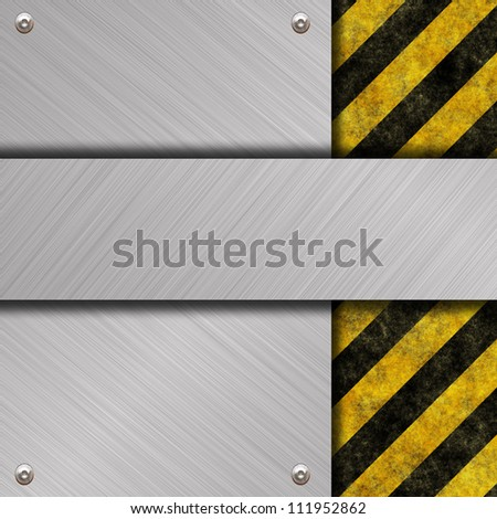 brushed metal plate and sign - stock photo