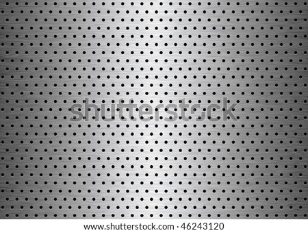 Brushed sheet metal plate background with holes with grain
