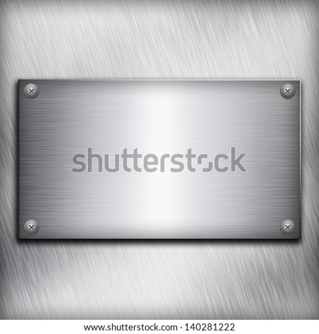Brushed steel plate over aluminium metall background for your design