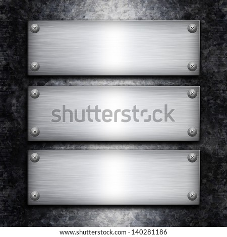Brushed steel plate over galvanized metall background for your design