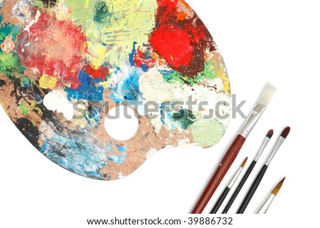 Brushes and a colour palette