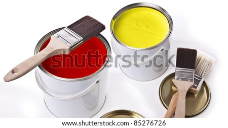 Brushes and paint - stock photo