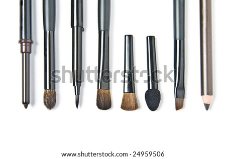 Brushes for make-up. Isolated on white background - stock photo