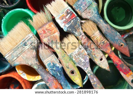 Brushes, paint cans, repair, painter