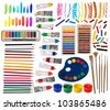 Brushes, paint, pencils and other artistic equipment isolated on white - stock photo