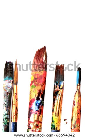 Brushes with white space above - stock photo