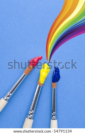 Brushies and rainbow - stock photo