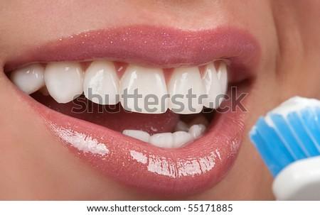 Brushing teeth - stock photo